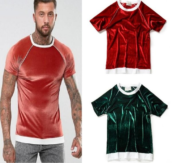 cool new man women casual t-shirt velvet brief short sleeves men's women's fashion crew neck shirts coat high quality clothes hot red green
