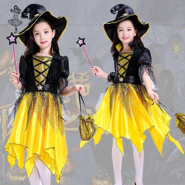 Halloween Cosplay Costume for Kids Halloween Gift Dress Up Prom Dress Girl Elf Set Skirt Yellow Pumpkin Witch Cosplay Children