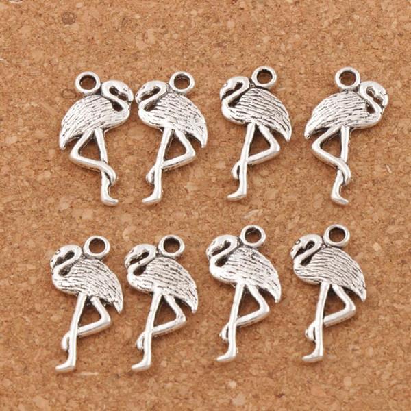 Flamingo крана Шарм Подвеска 150pcs / серия 24x10mm античные серебряные ювелирные изделия Поиск компонентов DIY Fit браслет ожерелье серьги аксессуары подарков