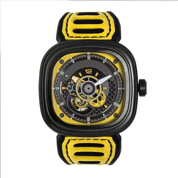 2019 latest yellow watch automatic mechanical watch NFC seven Friday model P3B03 men's waterproof 82s7 movement red watch