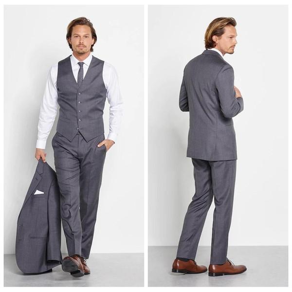 Top Sale Light Grey Custom Suits For Mens Slim Fit Grooms Tuxedos 3 Piece Wedding Suits Business Formal Wear (Jacket+Vest+Pants)