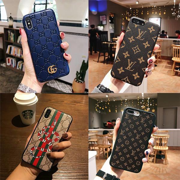 Casos de telefone de couro de luxo para iphone xr xs max 6 7 8 plus case marca de moda designer de casos de telefone capa mole