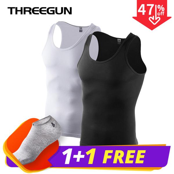 THREEGUN 2pcs / pack Camisetas sin costuras sólidas O-cuello Hombres básicos Bodybuilding Tops sin mangas Músculo alto elástico con calcetín gratis