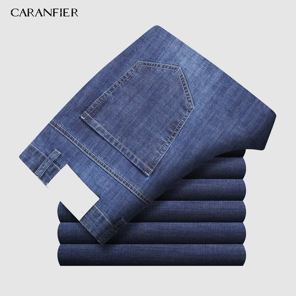 wholesale 2019 New Men's Classic Jeans Elastic Skinny Solid Color Denim Jean Male Black Blue Slim Fit Pants Brand Clothes 38