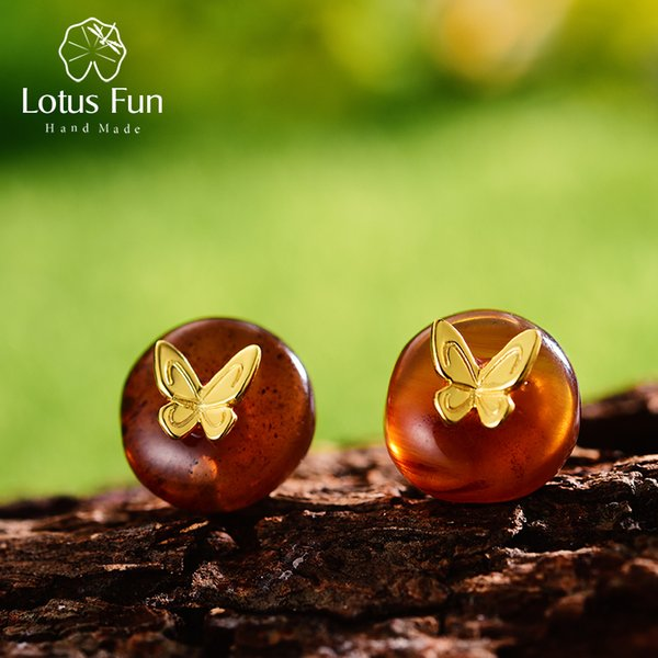 Lotus Fun Real 925 Sterling Silver Natural Amber Stone Handmade Designer Fine Jewelry Butterfly Stud Earrings for Women Brincos Y18110503