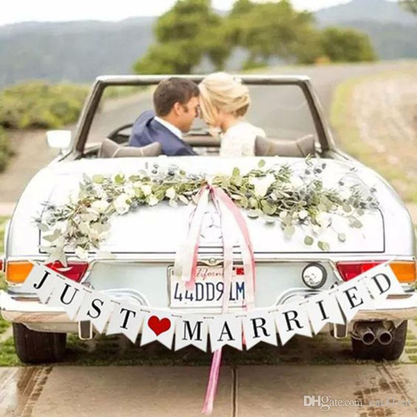 Just Married White Banner Rustic Garland Wedding Table Decoration Vintage Party Events Supplies Mr Mrs Car Decor