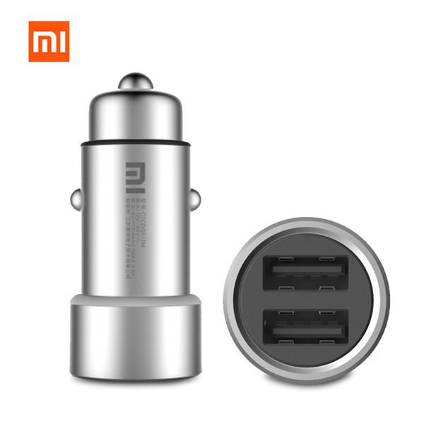 En stock Mi originale Chargeur allume-cigare double USB CZCDQ01ZM 5V / 3.6A Charge rapide métal Appliquer au système Android IOS téléphones mobiles