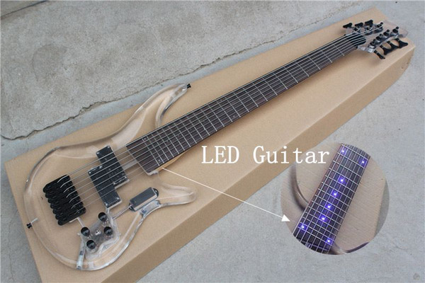 top popular New 7 strings Bass LED acrylic body Glass electric bass guitar 24 frets Black Hardware Electric Bass 2021