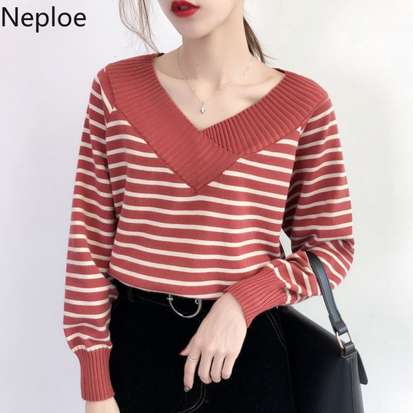 Neploe New Pull En Maille À Rayures 2019 Automne Hiver Pull À Col En V À Manches Longues En Bas Tricot Tricot Preppy Style Pull Femme 54112 SH190914