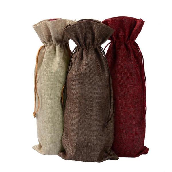 Nuovi sacchetti di vino di iuta Champagne Wine Bottle Covers Gift Pouch tela sacchetto di imballaggio Decorazione della festa nuziale Vino Borse coulisse copertura LX6063