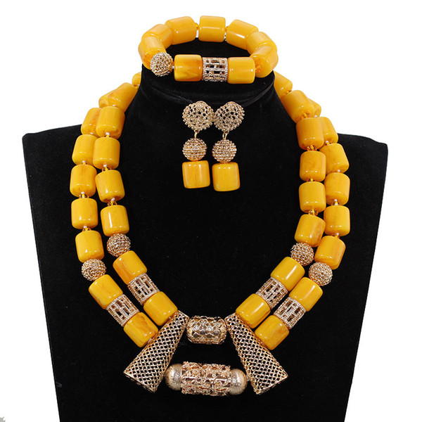 New Yellow African Beaded Bridal Jewelry Set for Women Chunky Gold Pendant Necklace Set African Wedding Party Beads CNR043