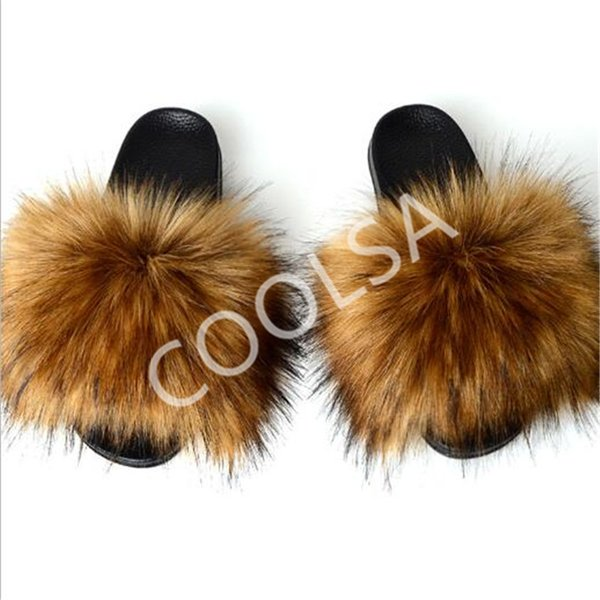 best selling Women's Summer Faux Fox Fur Slippers Fluffy Plush Home Shoes Women Fur Slides Ladies Fake Fox Hair Sandals Female Fur Flip Flops Y200107