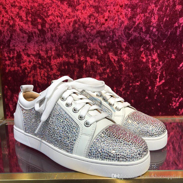 2019 designer brand casual red low-cut shoes suede shoes men and women party wedding crystal leather sports shoes