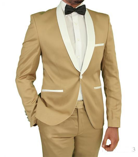 New Style Groom Tuxedos One Button Shawl Lapel Groomsmen Best Man Suit Men's Wedding Wear Two Pieces (Jacket+Pants)