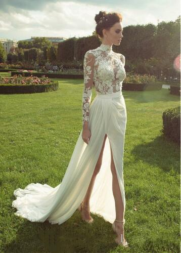 Sexy Summer Beach Wedding Dresses A-Line New 2019 Cheap Ivory Lace Chiffon Bridal Gowns High Neck Sheer Illusion Bodice Side high Slit Dress