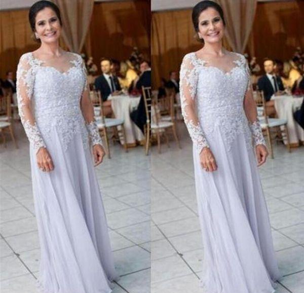 Lilla maniche lunghe madre della sposa abiti in pizzo chiffon abiti da sera formale gioiello collo pavimento lunghezza abiti da ballo in chiffon abito da damigella d'onore