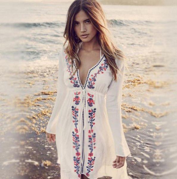 Ethnic Women Stylish White Cover-ups Long Sleeved Casual Beach Holiday Dress Bikini Coverups