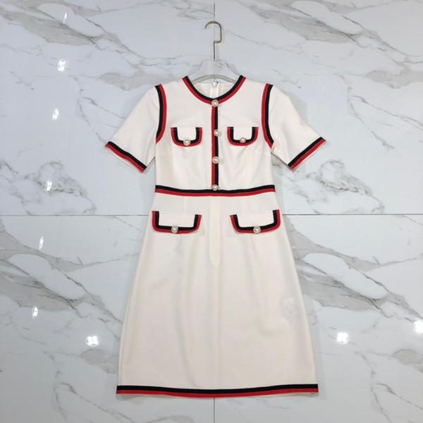 Milano Runway Dress 2019 Designer Albicocca / Rosso Maniche corte vestito femminile Bottoni di fascia alta Vestidos De Festa 18892
