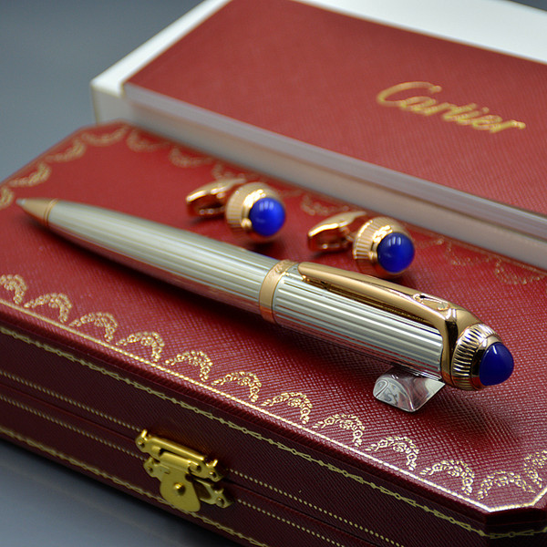 Top Luxury Christmas Gift Set - High quality Carties Branding Metal Ballpoint pen Ball pen + Man Shirt Cufflinks with Original Box packaging