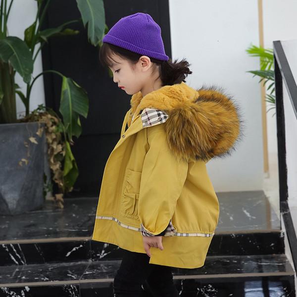 Crianças Parka Camuflagem Casaco Forro De Pele De Coelho Real Casaco De Pele De Inverno Para Crianças