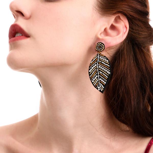 Ultime Seed gioielli fatti a mano perle perline orecchini ragazze europeo di cristallo strass tessuto del foglio di goccia ciondolano per le donne