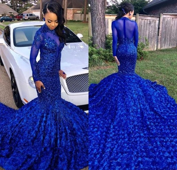 Luxuriously Royal Blue Mermaid Prom Dresses 2019 High Neck Long Sleeves Beaded Handmade Flowers Evening Party Gowns Long Tail