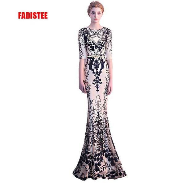 Fadistee New Arrival Elegant Party Dress Evening Dresses Vestido De Festa Gown Bling Sequin Half Sleeves Sexy Stretch Prom Dress Y19042701