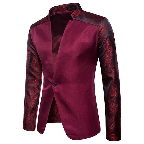 Hommes Vintage Blazer Hommes De Haute Qualité Costume Veste Mâle De Luxe Col Montant Mâle Blazer Slim Fit Hommes Blazer Noir Pour Le Mariage