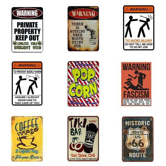 Carteles de chapa de metal vintage Tema de advertencia Menú de café Bar de té Arte de la cerveza Pósteres Decoración casera Restaurante Café Café Placas de pared Carteles de chapa