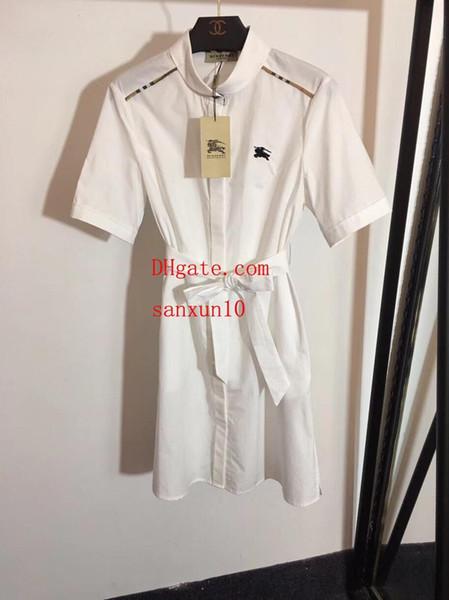 2019 Yaz elbiseler Savaş Atı Şövalye Nakış Dantel-up İnce Kısa Kollu Gömlek elbise bayanlar rahat Elbiseler en kaliteli kadın giyim BU-1
