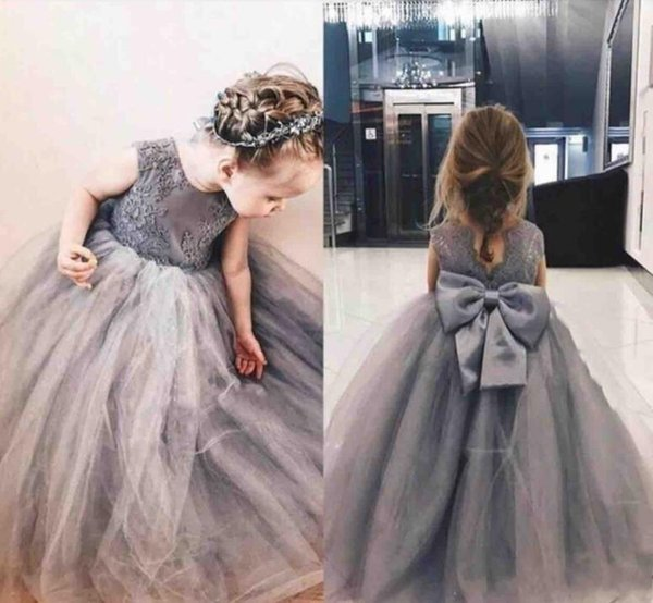 2019 Grey Princess Flower Girl Dresses Jewel Big Bowl Lace Applique Girls Pageant Dresses For Toddlers Children A Line Kids Birthday Dress