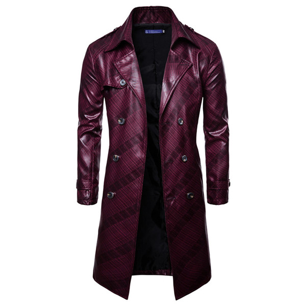 Men's double-breasted Leather Jackets Men Faux casual Suede Jacket Windbreaker button Riding top Coat Dropshipping Long clothes