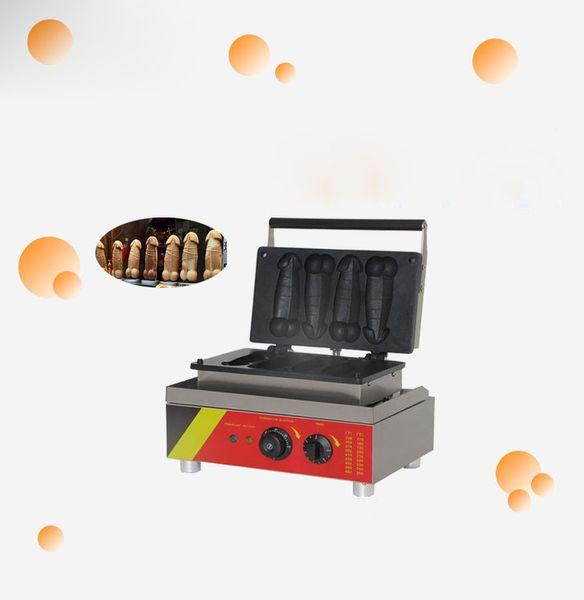 110/220 V in acciaio inox grande cazzo bruciare macchina per cialde pene 4pcs automatico pene lolly muffin macchina per waffle