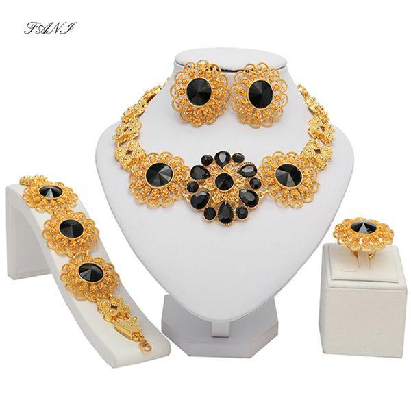 Accessoires femme gros mariage bijoux nigerian ensemble marque Dubai Gold Jewelry Set set mode gros bijoux perles africaines