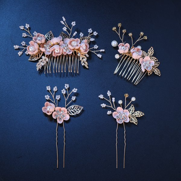 Pink/Blue Flower Bridal Hair Comb and Hairpins Pearl Wedding Hair Accessories Flower Head Piece For Women Ladies Hair Jewelry