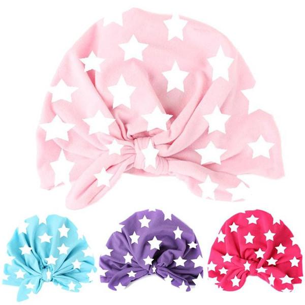 Infant Star Print Pattern Hats Newborn Cute Bunny Ear Hat Toddler Knot Rabbit Ear Beanie Hat Kids Turban Head Wraps