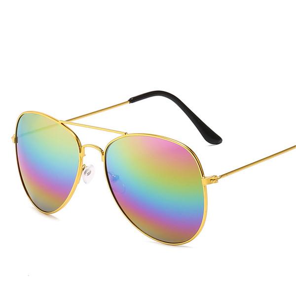 11 Colores Mujeres Gafas de sol Diseñador de la marca Metal Pilot Gafas de sol Coloridas lentes al aire libre Anti-UV400 Gafas para mujer Oculos