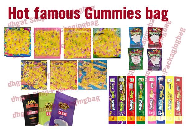 top popular Hot sale 500mg Gummies bag MEDICATED 420mg 400mg Nerds Rope Dank Gummies LOL Edibles Hashtag Empty Packaging bag Nerds Rope Gummy bags 2020