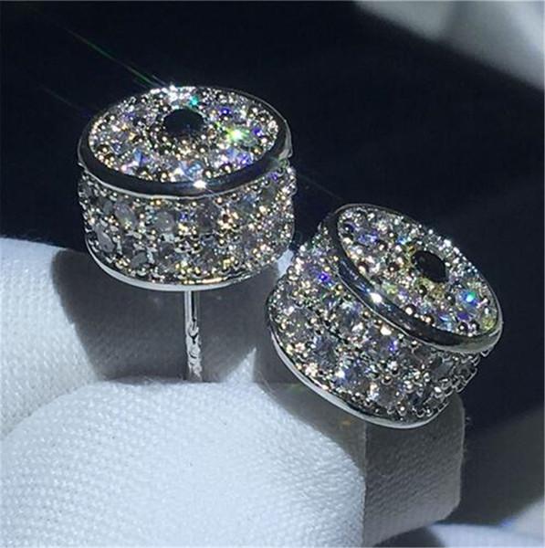 Luxus krone ohrring blau 5a cz weißgold gefüllt jahrestag hochzeit ohrstecker für frauen beste geschenk