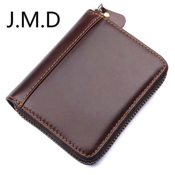 J.M.D 2019 Neuer 100% Rindsleder-Reißverschluss um den Mappenkaffee RFID, der Kartenhalter 8117 blockiert