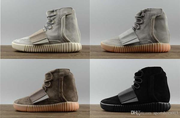 Hot sapatos de grife de vendas Kanye West 750 botas Cinza claro Sapatilhas marrons Triplo Preto Cinza calçados esportivos 750 Caminhadas ao ar livre sapatos de corrida