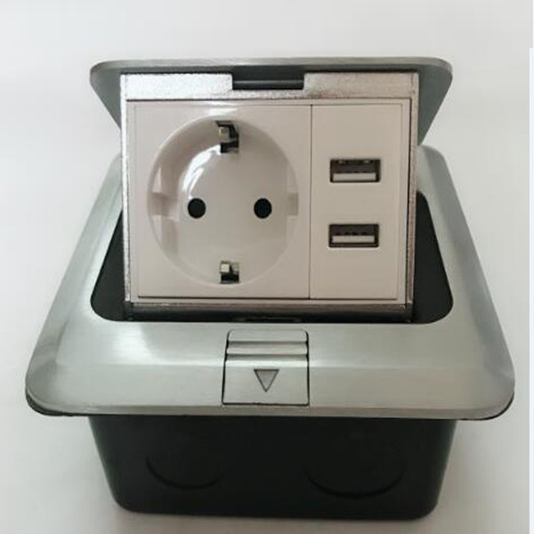 top popular 2018 New And Hot 1*EU power +2*charge USB ,Floor Pop Up Socket ,Silver ,can install Smart Home Hotel fast ship from Russin 2021