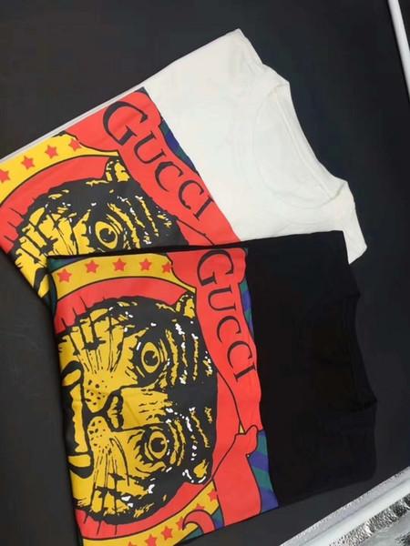 2018 Frühling und Sommer Männer und Frauen Das Tiger New Print T-Shirt Cool Black Persönlichkeit Kurzarm Top