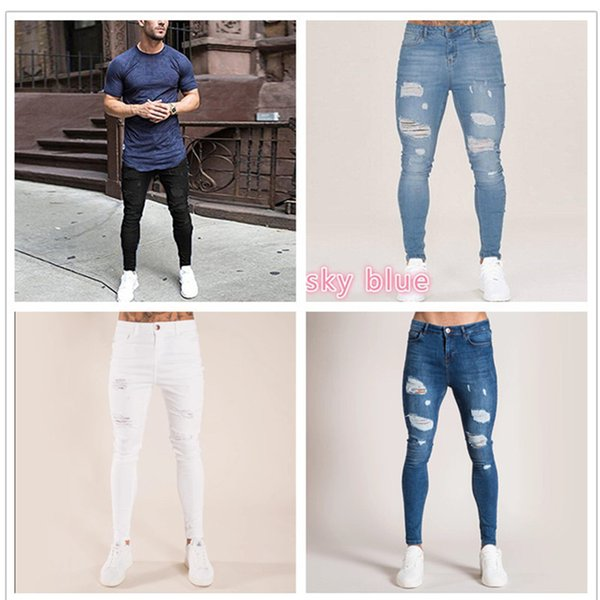 Jeans uomo pantaloni dimagriscono i 2019 jeans maschio pantaloni in denim Designer casuali scarni dei pantaloni di elasticità dritte
