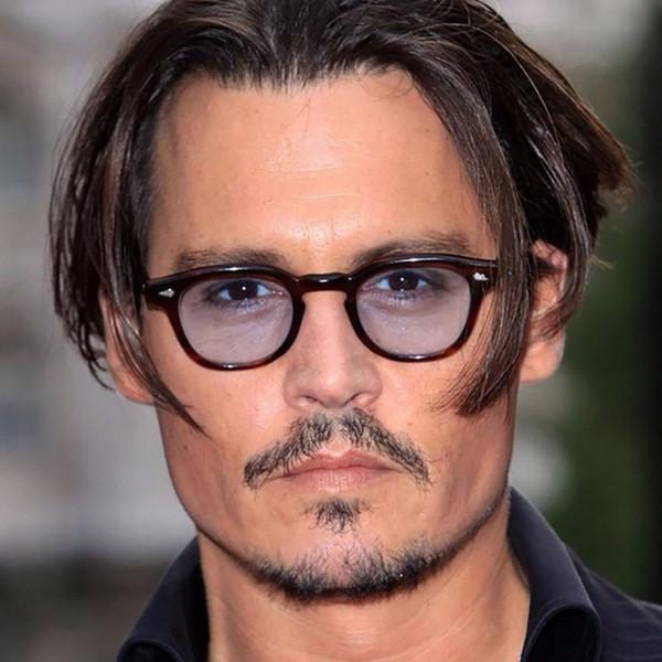 Retro Fashion Johnny Depp Style Round Sunglasses Men Clear Tinted Lens Brand Design Party Show Womens Sun Glasses Oculos De Sol