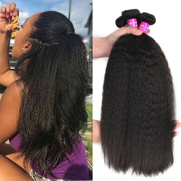 Fasci di capelli vergini brasiliani dritti crespi di grado 9A non trasformati Profonda onda allentata riccia profonda Malese peruviano indiano Tessuto di estensione dei capelli umani