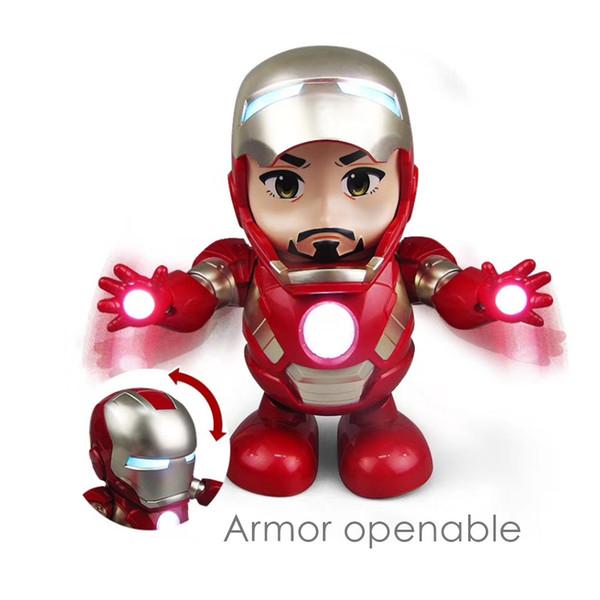 Dance Hero 20CM Iron Man Doll Superhero Avengers Model Toy Led Flashlight With Light Sound Music Robot Kids Electronic toys Classic Gifts
