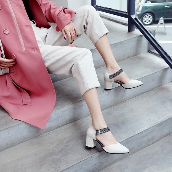 Büyük Boy 11 12 13 14 15 Bayanlar yüksek topuklu kadın ayakkabı kadın Mavi Patchwork Kaba topuklu tek ayakkabı pompalar