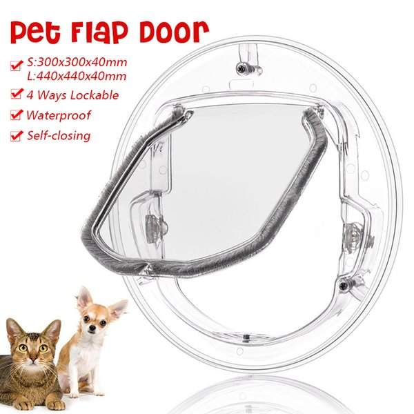 Small/Large Pets Safe Door Round Clear Cat Flap Door Products Fits for Screen Window Glass Window Lockable Pet Products