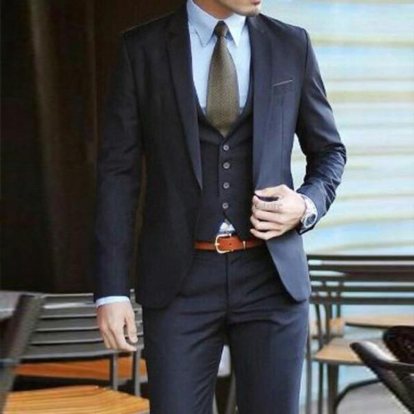 HOT-- Fashion Navy Blue Slim Fit Groom Tuxedos Notch Lapel Groomsmen Mens Wedding Dress Excellent Man 3 Piece Suit(Jacket+Pants+Vest+Tie)639